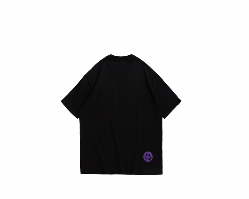 Eglaf | Smiley Face Embroidery Oversized Tee Purple