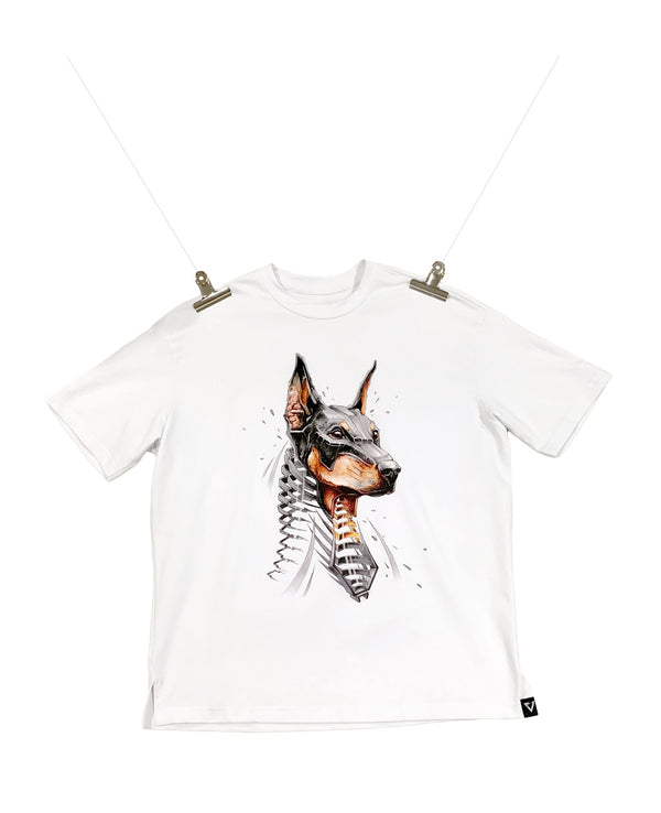 Eglaf | Doberman Oversized Tee White