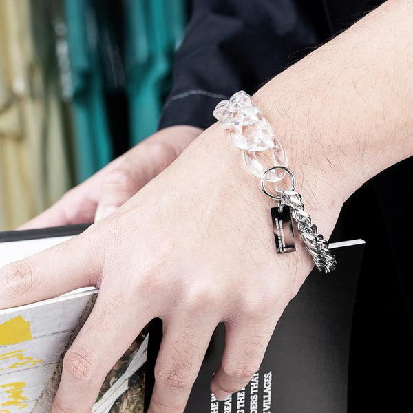 Dr Mister | Essential Half Lucid Twin Chain Bracelet Clear