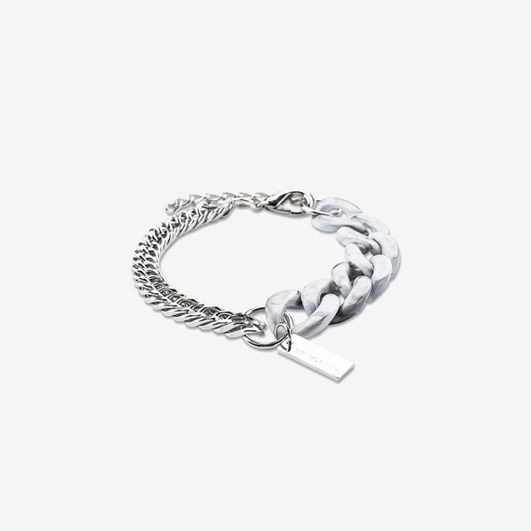 Dr Mister | Essential Half Lucid Twin Chain Bracelet Marble Grey
