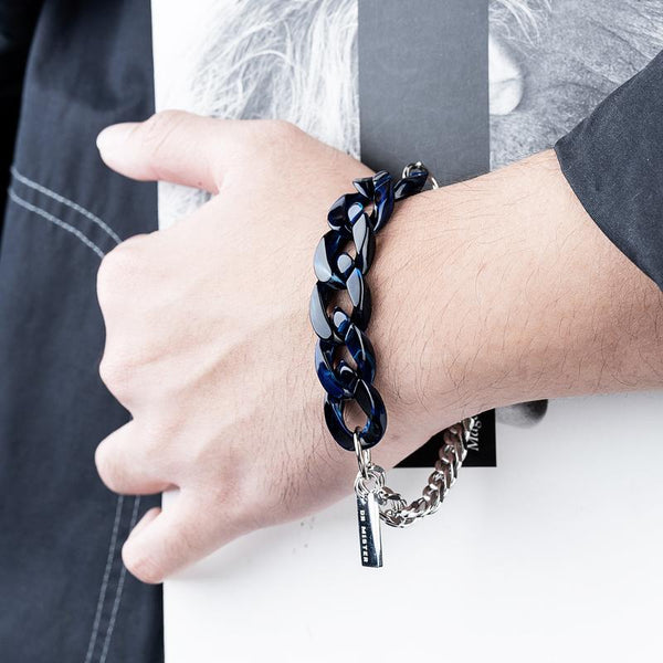 Dr Mister | Essential Half Lucid Twin Chain Bracelet Midnight Blue