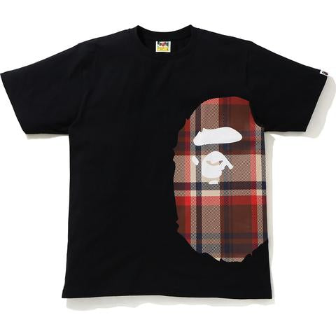 Bape | Check Side Big Ape Head Tee Black