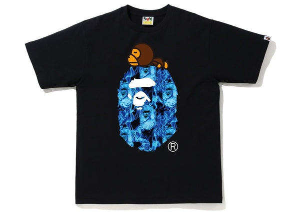 Bape | Flame Milo On Big Ape Tee Black/Blue