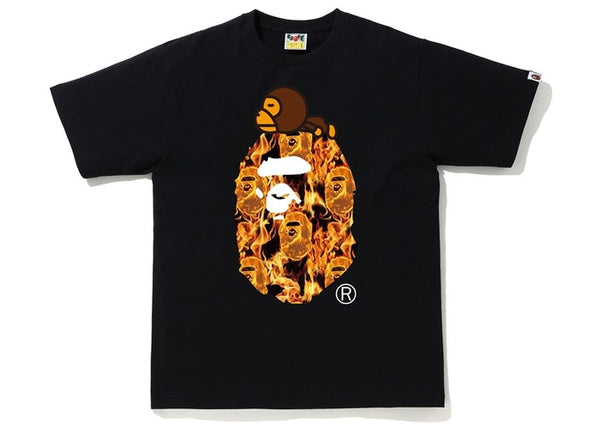 Bape | Flame Milo On Big Ape Tee Black/Orange