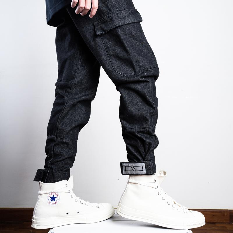 Dr Mister | Essential Branded Denim Cargo Pants Charcoal Black
