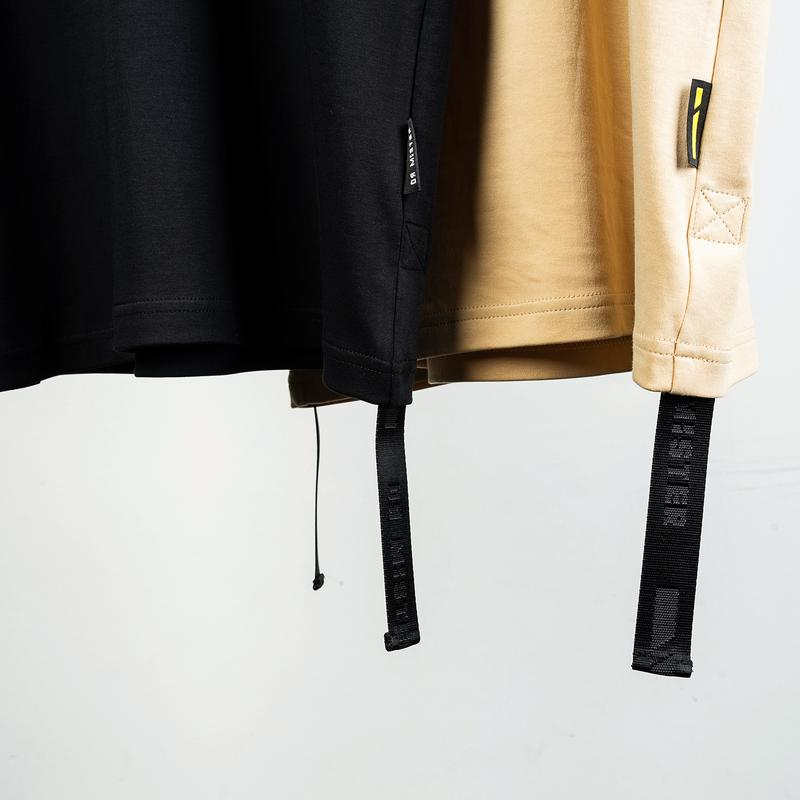 Dr Mister | Essential Piped Oversized Double Strap Tee 2.0 Beige