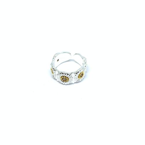 EK | Iced Out Sunflower Ring Silver