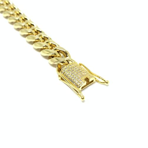 EK | Iced Out Buckle Cuban Link Bracelet Gold