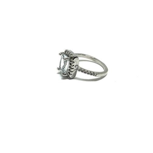 EK | Square Cubic Ring Silver