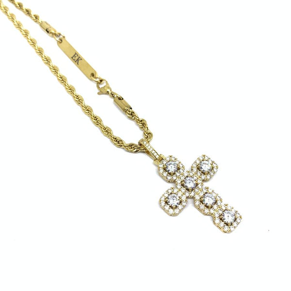 EK | Iced Out Cross Necklace Gold