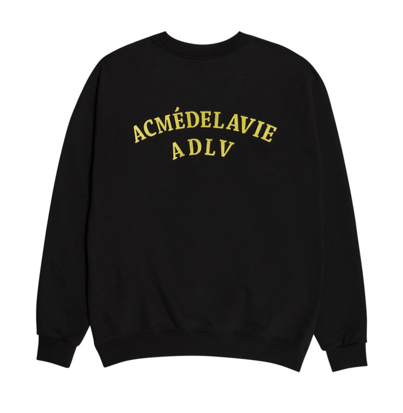 ADLV | Two Colors Embroidery Sweat Shirt Black