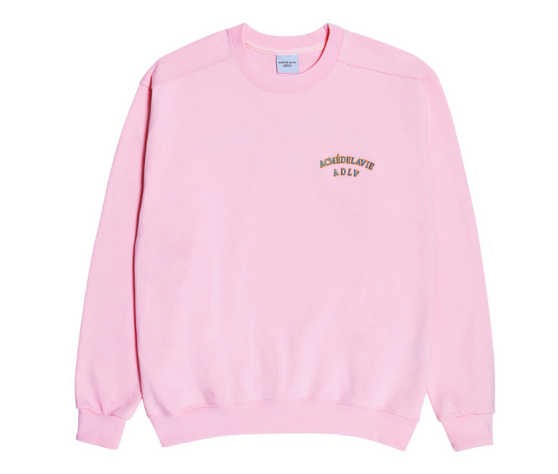 ADLV | Two Colors Embroidery Sweat Shirt Light Pink