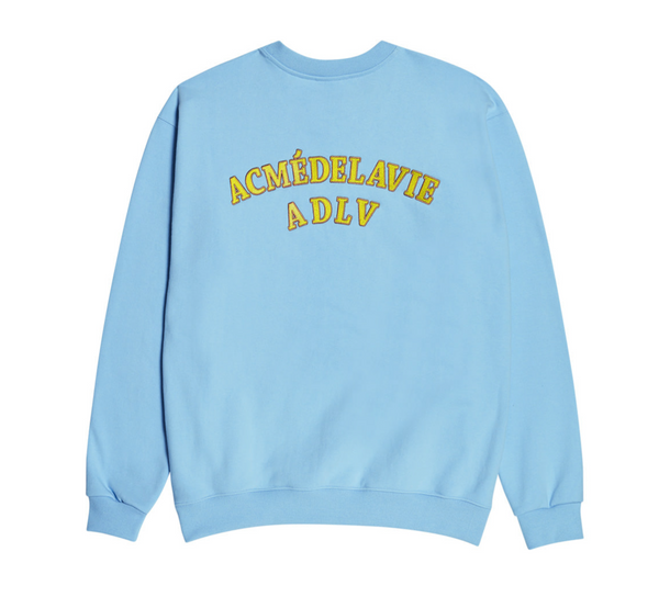 ADLV | Two Colors Embroidery Sweat Shirt Sky Blue