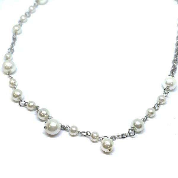 EK | Dangle Pearl Necklace Silver