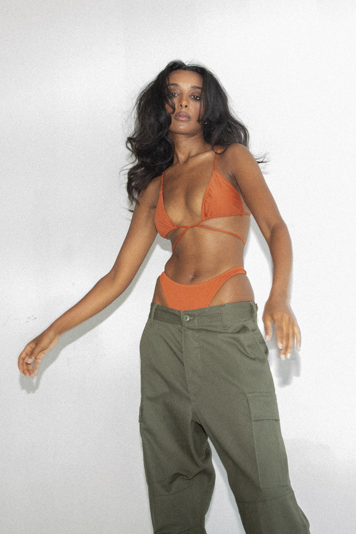 NOA STRING TIE TOP - CLAY