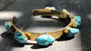Multi Stone Turquoise Cuff, Gold plated, adjustable