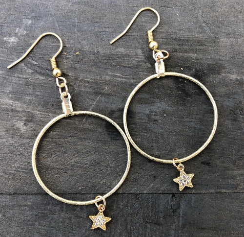 Gold plated 1 inch hoops with Swarovski star pendants