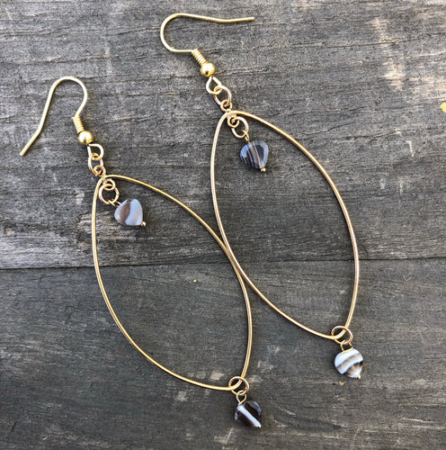 Gold plated earrings with Botswana Agate hearts