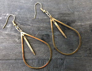 Gold plated teardrop earrings with gold dipped porcupine quills