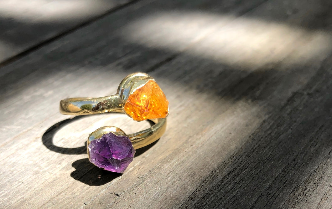 Citrine and Amethyst wrap ring, Gold plated, size 7