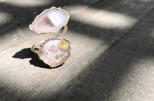Double Geode wrap Ring, Gold plated, size 7