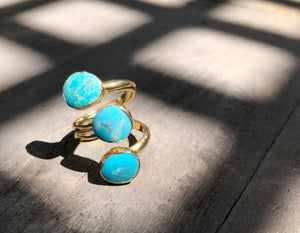 Triple Turquoise wrap Ring, Gold plated, size 6.75