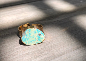 Turquoise Oval Ring, Gold plated, size 7 adjustable