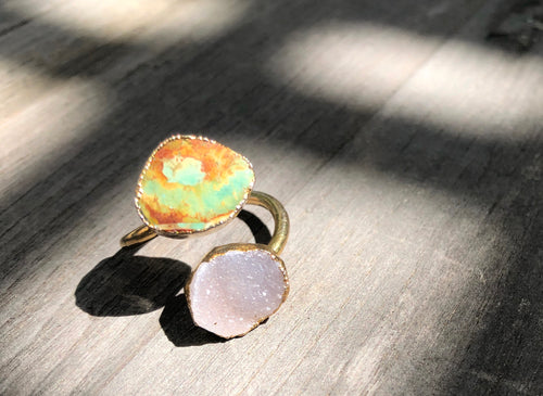 Turquoise and Druze wrap Ring, Gold plated, size 7 adjustable