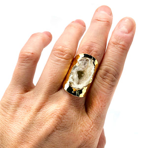 HAMMERED CUFF AGATE RING