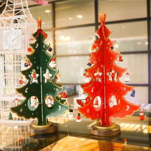 Wooden Tabletop Christmas Tree Decoration With Miniature Christmas Ornaments