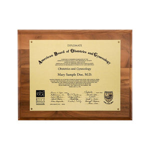 "Metal Photo Plaque - Satin Gold Finish Walnut 11"" x 14 1/2"""