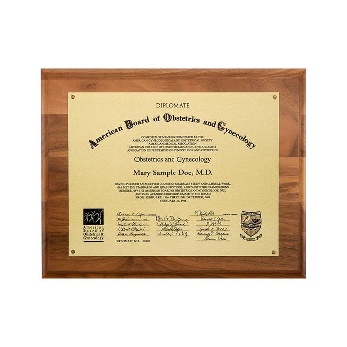 Metal Photo Plaque - Satin Gold Finish Walnut 14