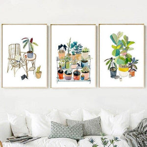 Watercolor Flower Potted Illustrations - SunCoastSea