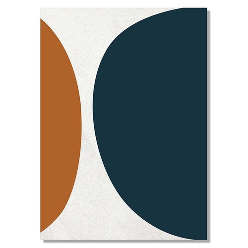 Mustard and Navy Abstract Canvas Art Prints - SunCoastSea