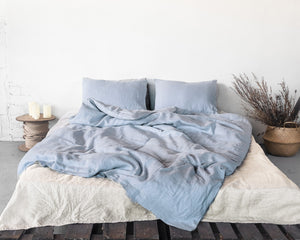Ice Blue Linen Bedding Set - SunCoastSea