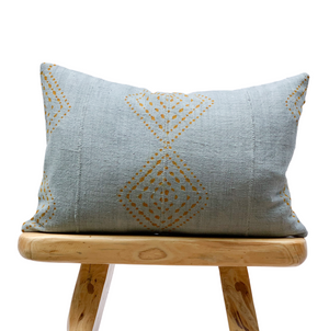 Mudcloth Rust Pattern Blue Grey Pillow Cover - SunCoastSea