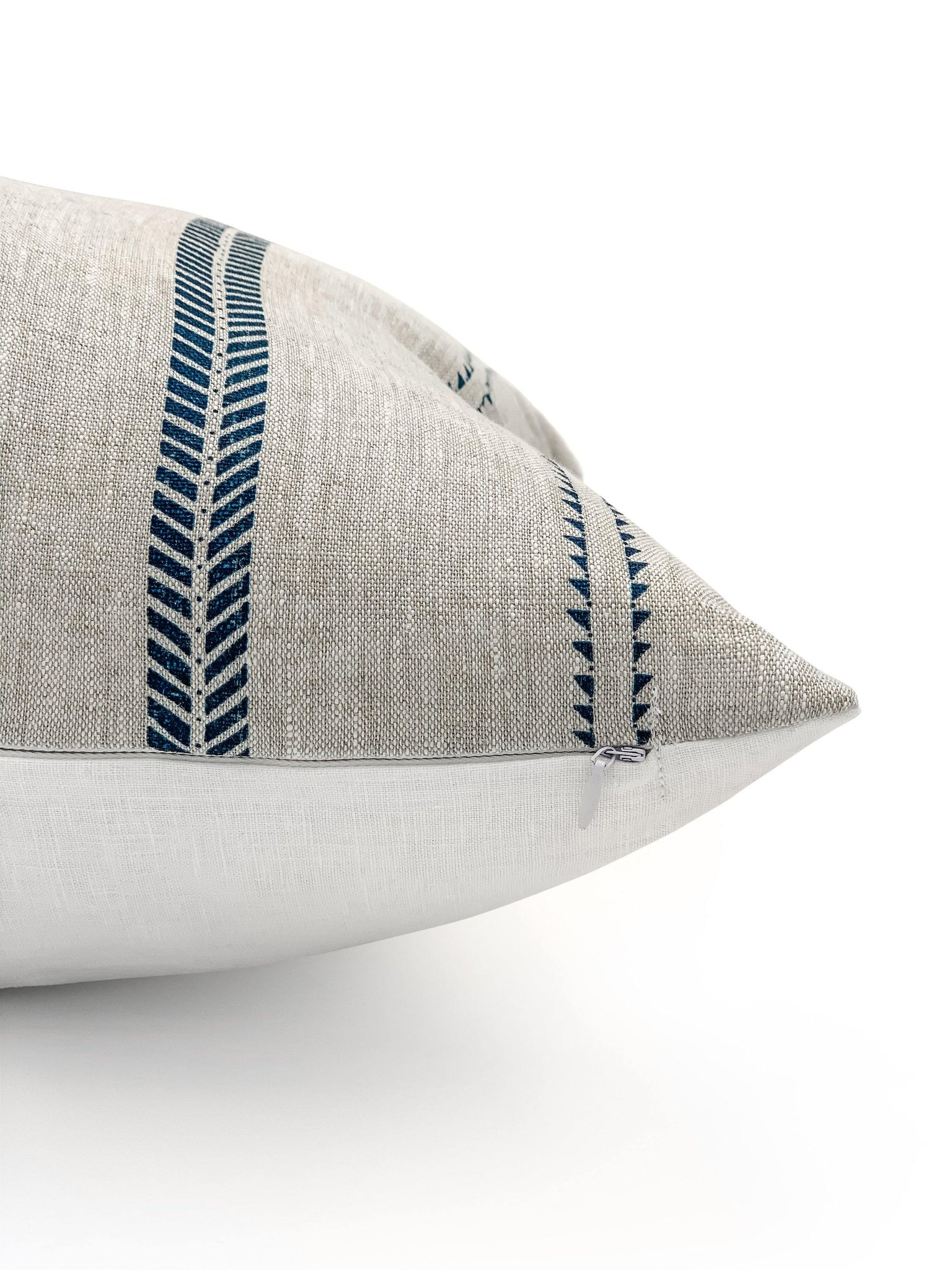 Inky Stripes on Natural Linen Lumbar - SunCoastSea