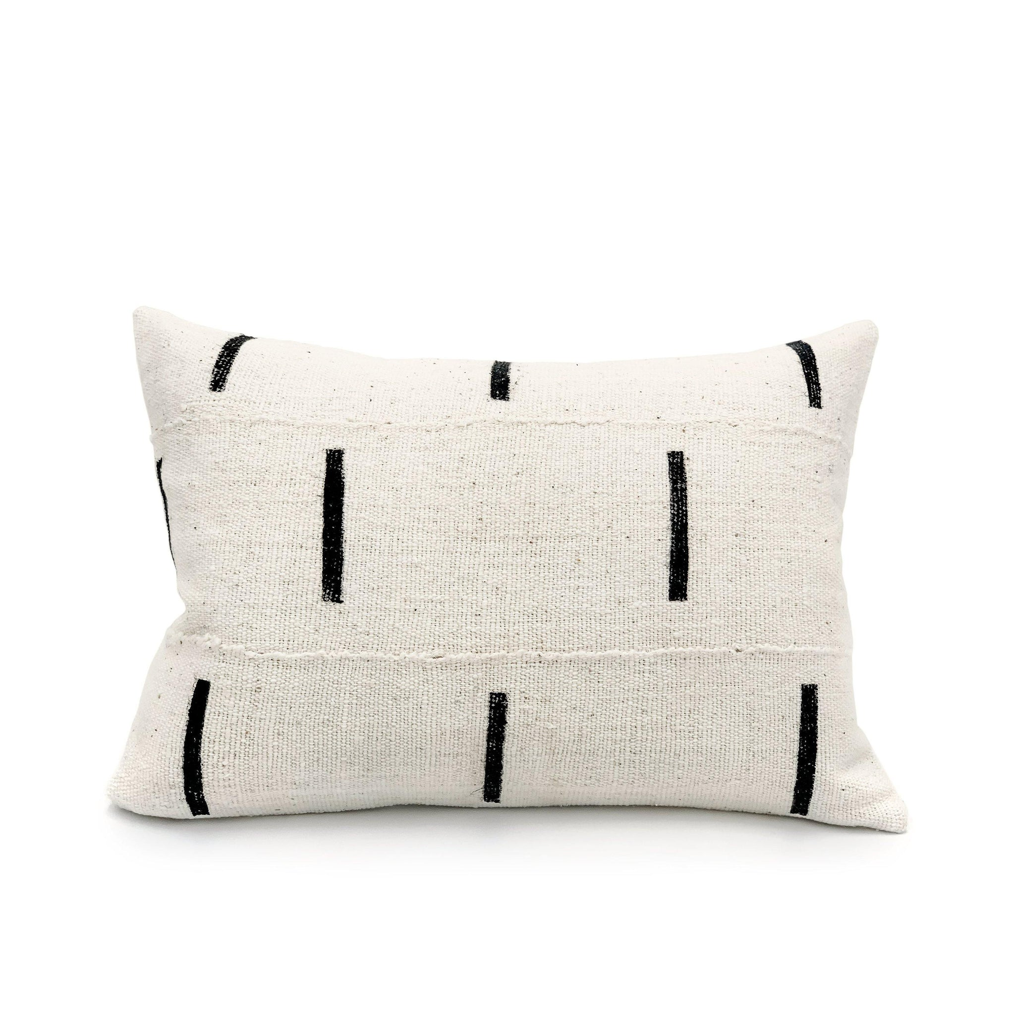 Mudcloth black lines on white Pillow Cover - SunCoastSea