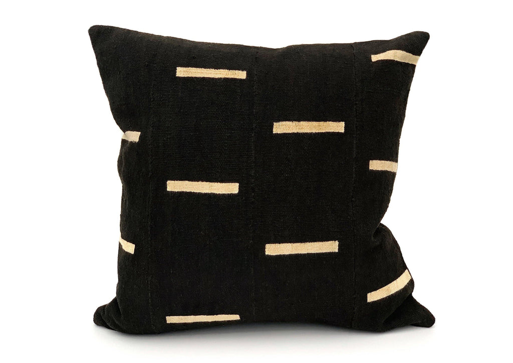 Mudcloth White Lines on Black Pillow Cover - SunCoastSea