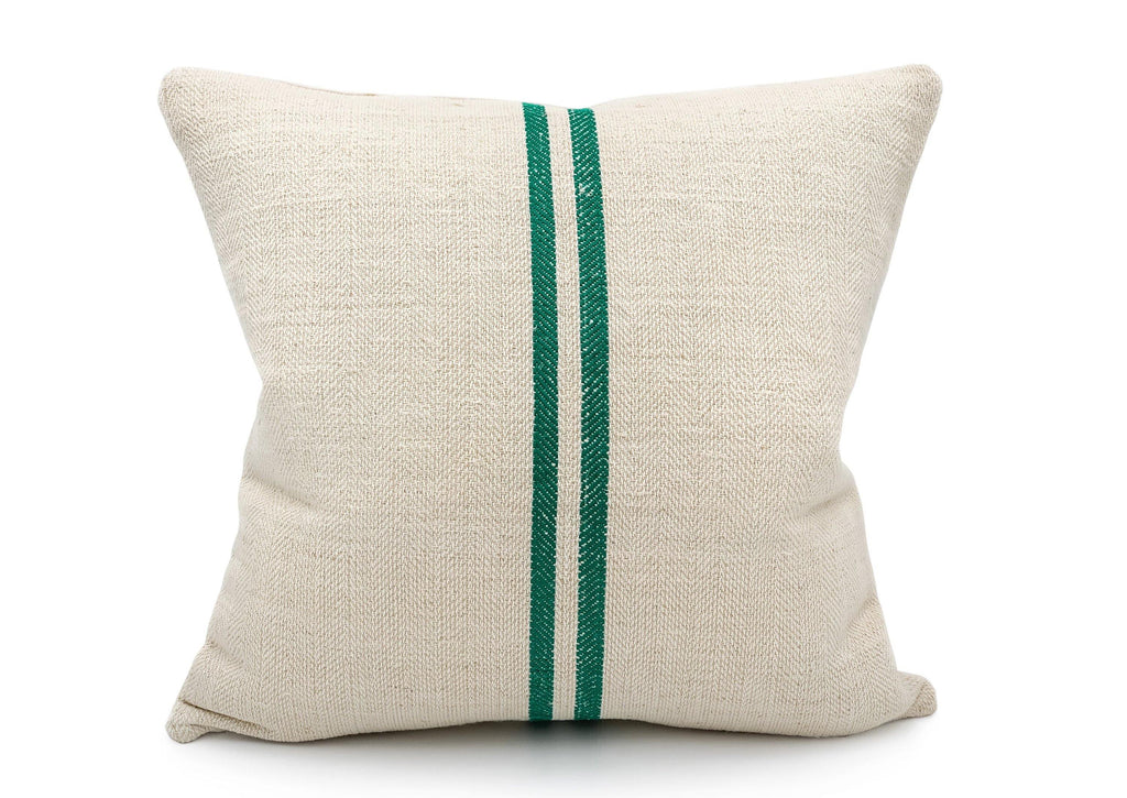 Vintage Two Green Stripes Grain Sack Pillow Cover - SunCoastSea