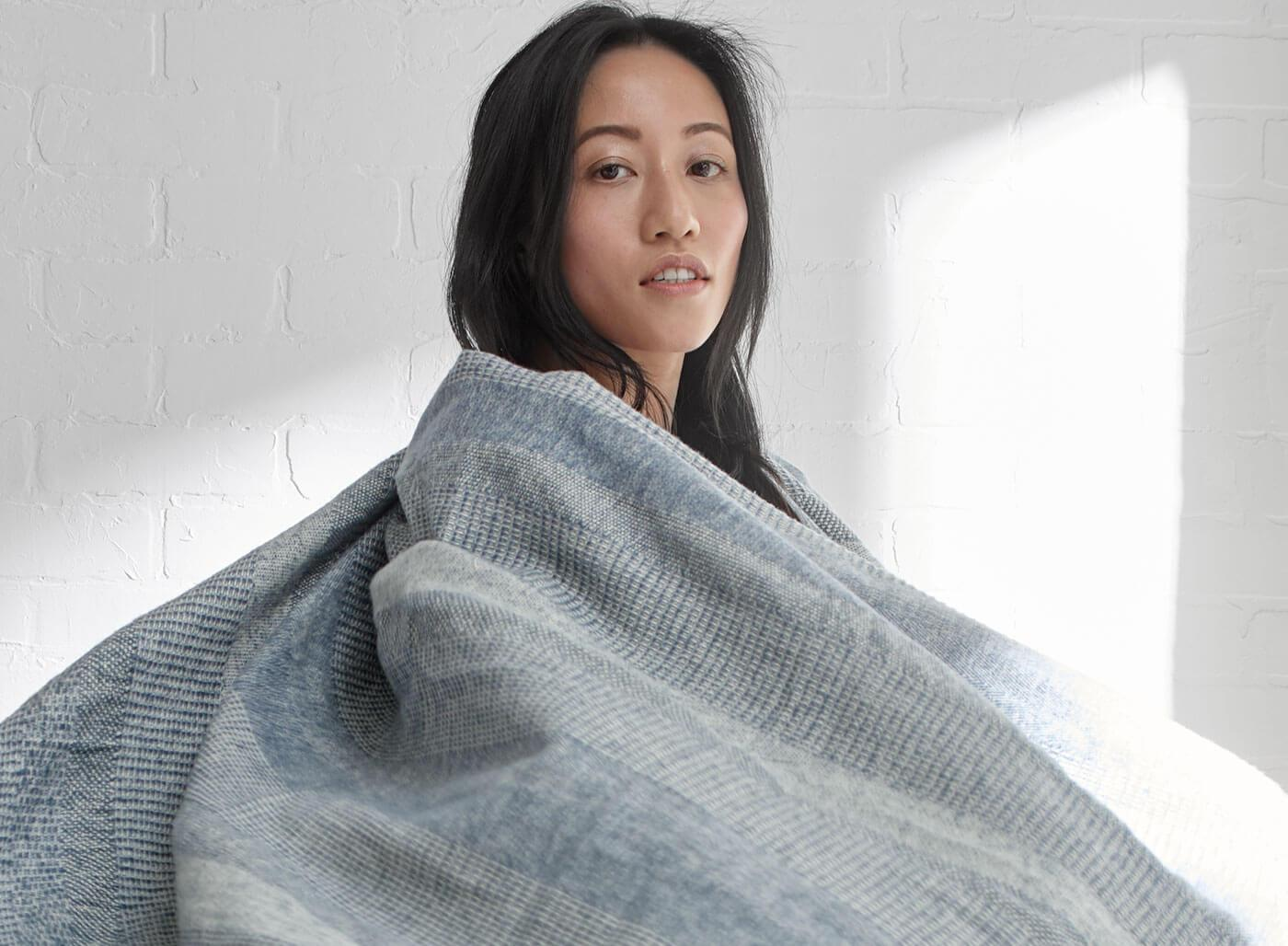 Organic Yarn-Dyed Brushed Cotton Throw Blanket - SunCoastSea