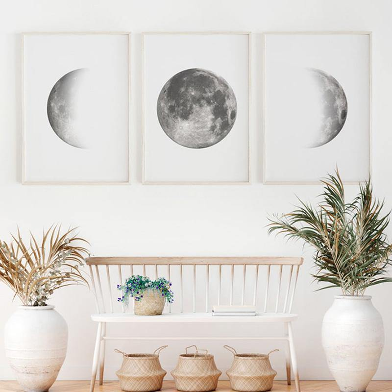Moon Phases Gray Canvas Art Print - SunCoastSea