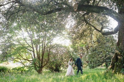 Couple in Dorothy Garden during a shoot at Boconnoc.