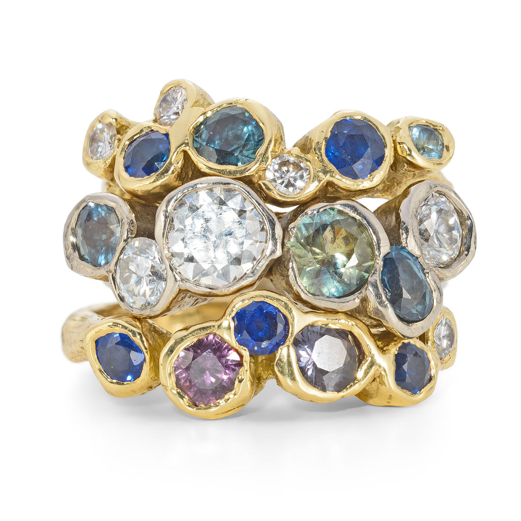 Colourful gemstone ring with diamonds and sapphires. Handmade, bespoke custom made design in Cornwall by Emily Nixon.