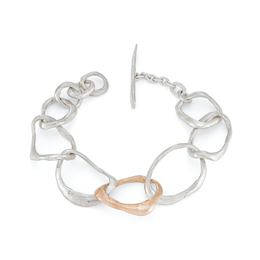Stone Drawing Bracelet Silver with 9ct Rose Gold Link