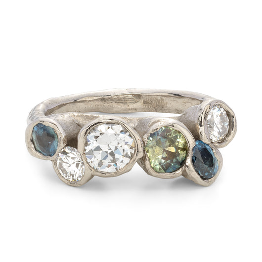 Bespoke Seaweed Ring with Sapphires and Diamonds
