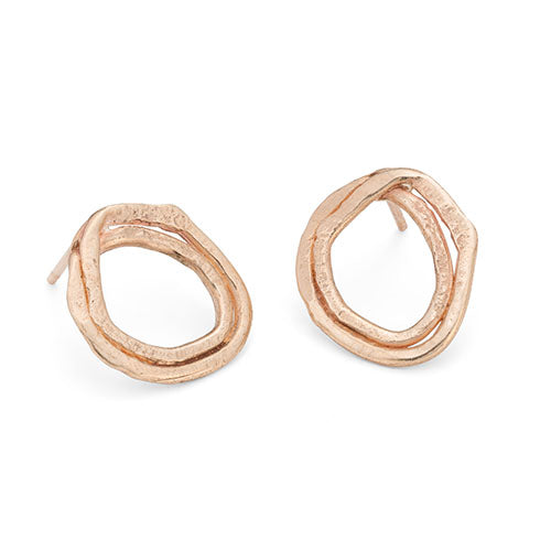 Pebble Circle Studs 9ct Rose Gold