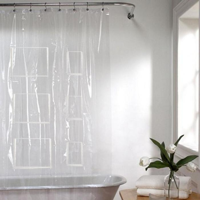 Phone Tablet Holder Shower Curtain Liner With Pockets Eco Friendly