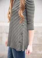 Round Neck Striped Top