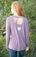Round Neck Cutout Back Sweater